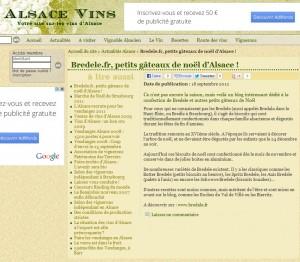 Article sur Bredele dans Alsace-Vins.net